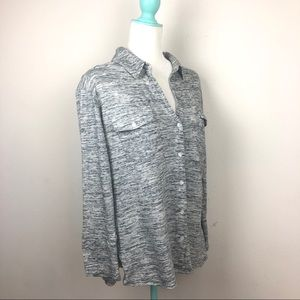Standard James Perse Marled Gray Knit Button Shirt
